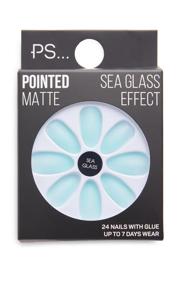 PS Blue Sea Glass Effect Pointed Matte Faux Nails