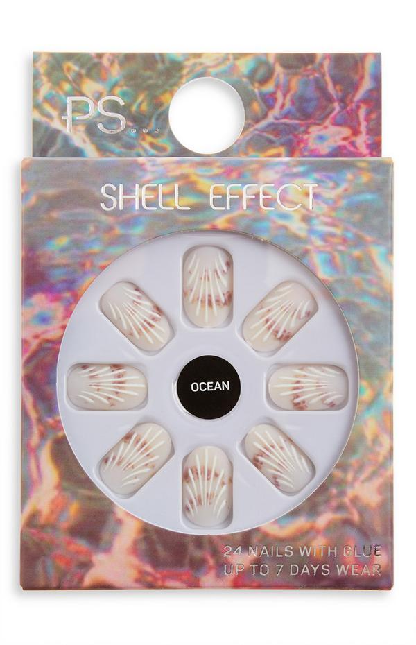 Uñas postizas de color almendra con efecto concha «Ocean» de PS