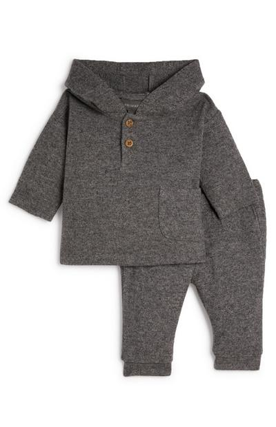 Baby Boy Grey Button Top Hooded Lounge Set