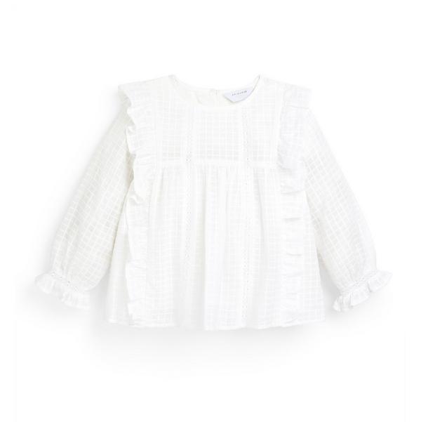 Weiße Bluse mit Rüschen und Waffelmuster (kleine Mädchen)