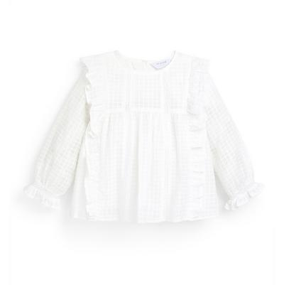 Younger Girl White Frill Waffle Blouse