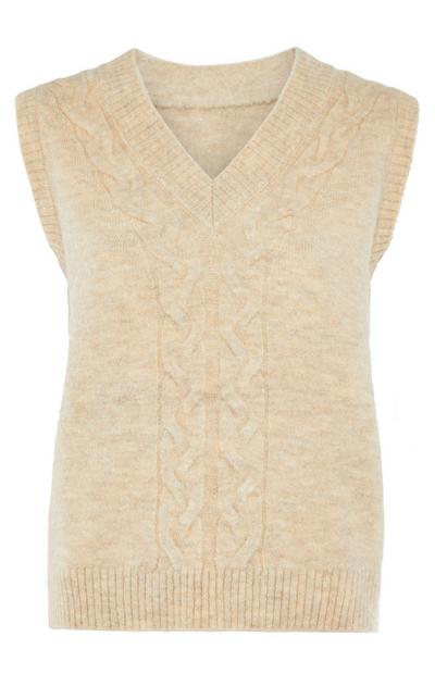 Cream Cable Knitted V-Neck Sleeveless Jumper