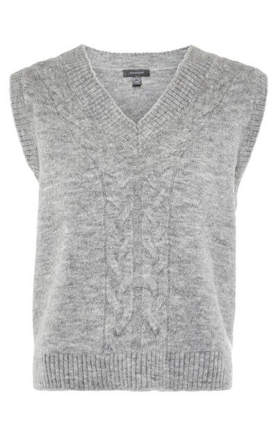 Grey Cable Knitted V-Neck Sleeveless Jumper