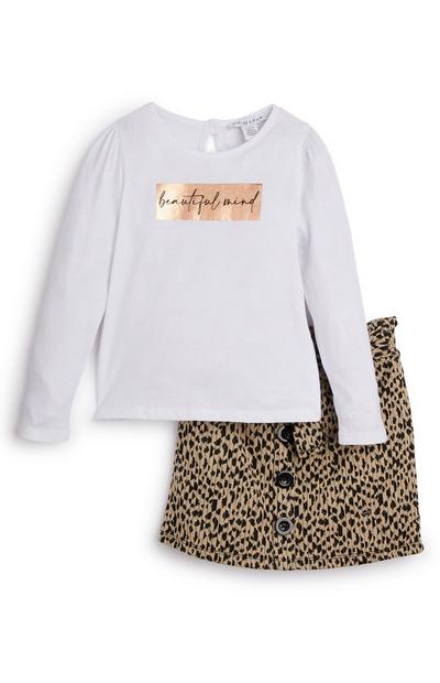 Younger Girl White Top And Animal Print Skirt Set