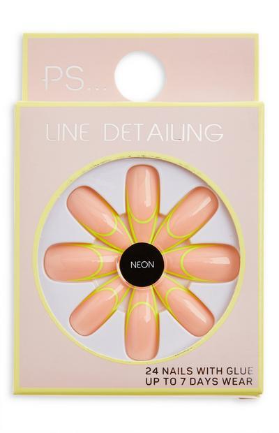 Sijoči umetni nohti v obliki stiletto neonske barve Ps Line Detailing