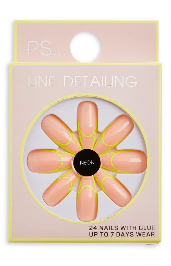 Ps Line Detailing Neon stilettovormige glanzende kunstnagels
