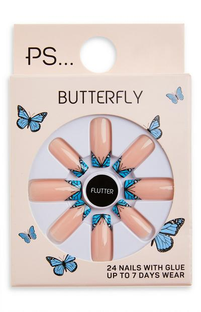 Unghie finte lucide squadrate lunghe Butterfly Ps