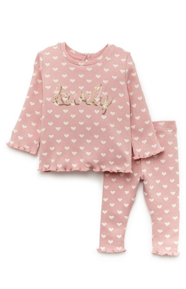 Baby Girl Pink Heart Print Ribbed Leisure Set
