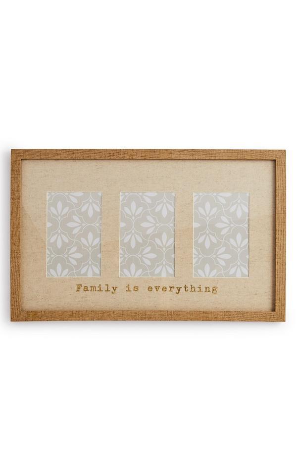 Cadre photo en bois avec trois emplacements Family Is Everything