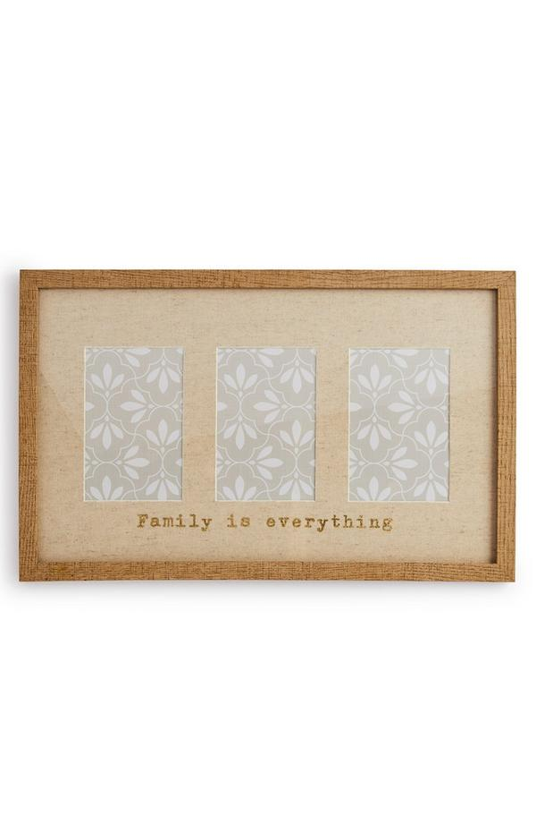 Cornice portafoto in legno con scritta per tre foto
