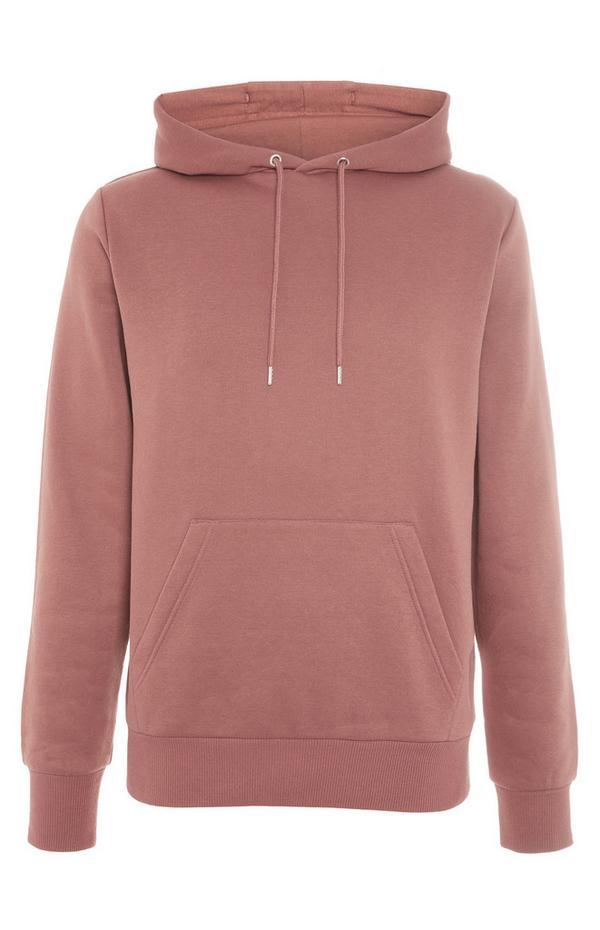 Rožnat pulover s kapuco