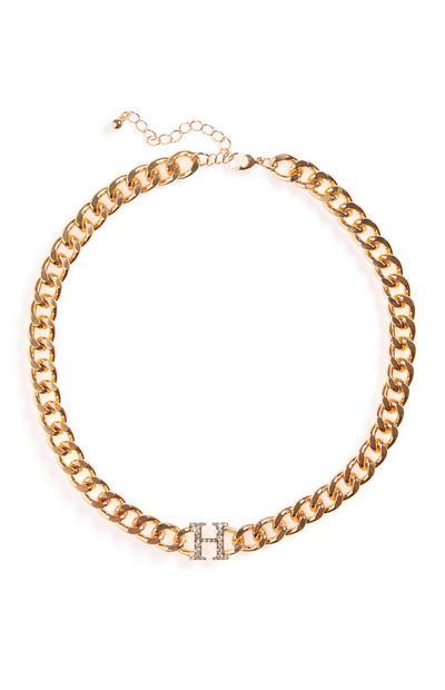 Debela zlata verižna ogrlica z začetnico