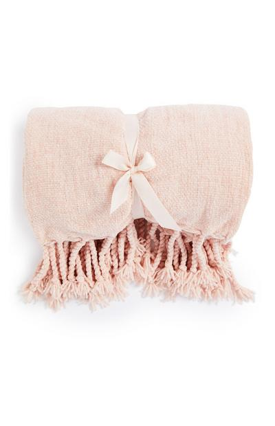 Pink Chenille Knit Throw
