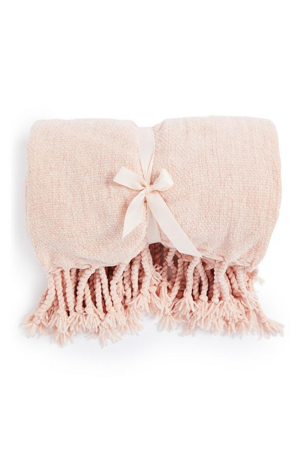 Manta malha aveludada cor-de-rosa