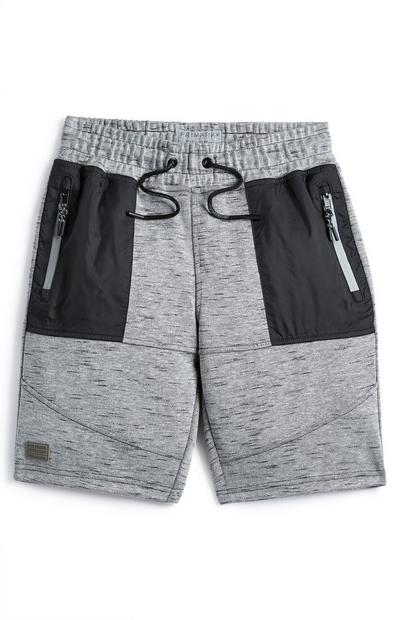 Older Boy Gray Woven Panel Shorts