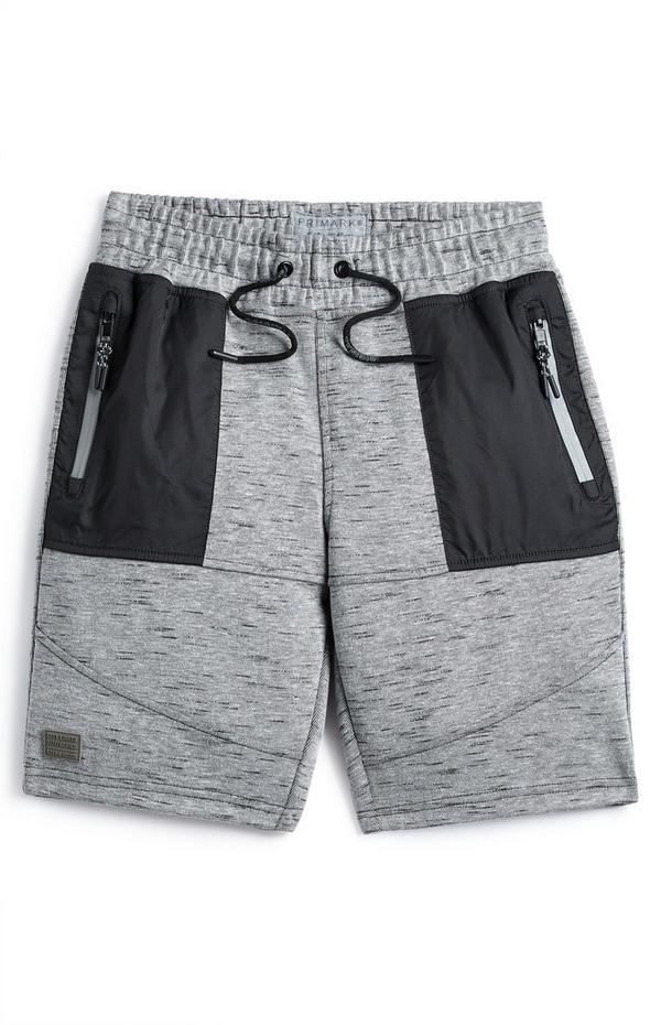 Sive tkane kratke hlače s paneli za starejše fante