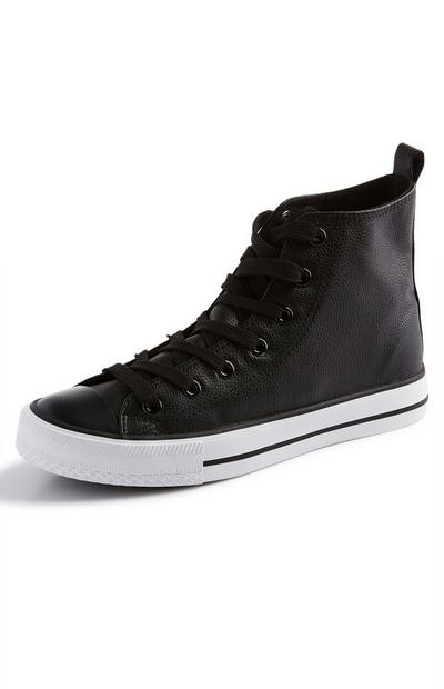 Black Classic Faux PU Leather High Top Trainers