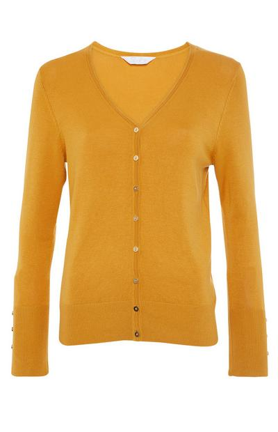 Yellow V Neck Button Up Cardigan
