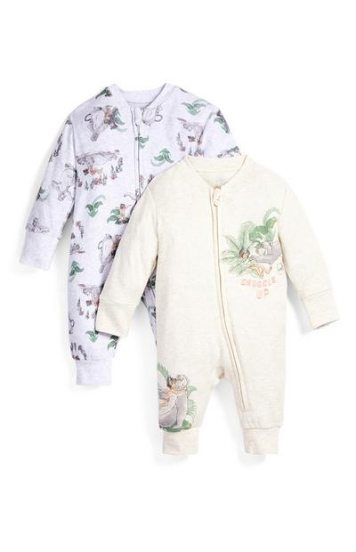 Newborn Baby Jungle Book Print Full Zip Sleepsuit 2 Pack