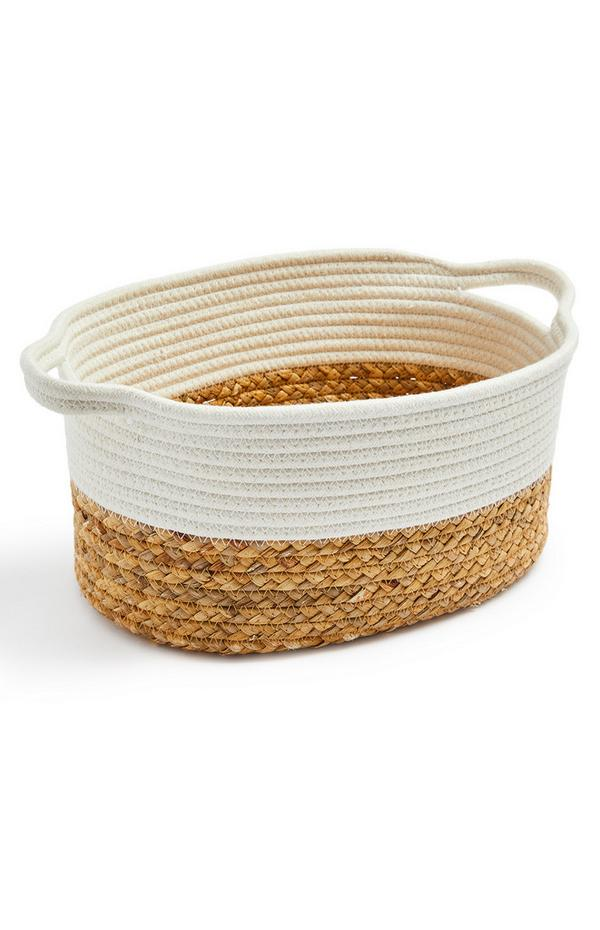 Two Tone Woven Basket with Handles