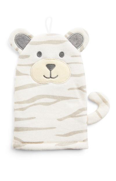 Ecru washand met 3D-tijger