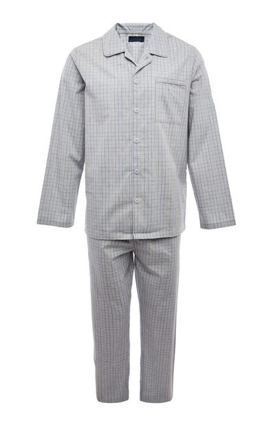 Grey Classic Poplin Leg Pyjamas Set