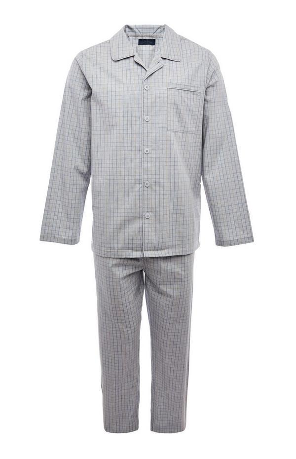 Klassieke grijze pyjamaset met lange pijpen van popeline
