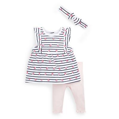 Outfit met aardbeiprint voor pasgeboren meisjes, 3-delig