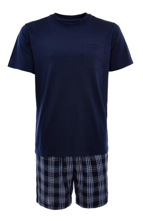 Kurzes marineblaues Popeline-Pyjamaset