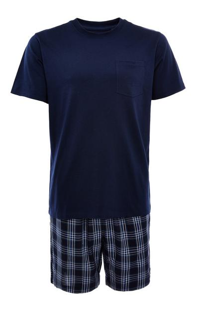 Navy Poplin Short Pyjamas Set