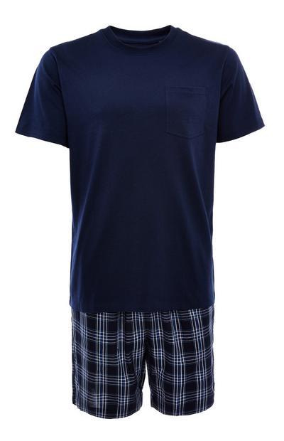 Mornarsko modra kratka pižama iz poplina