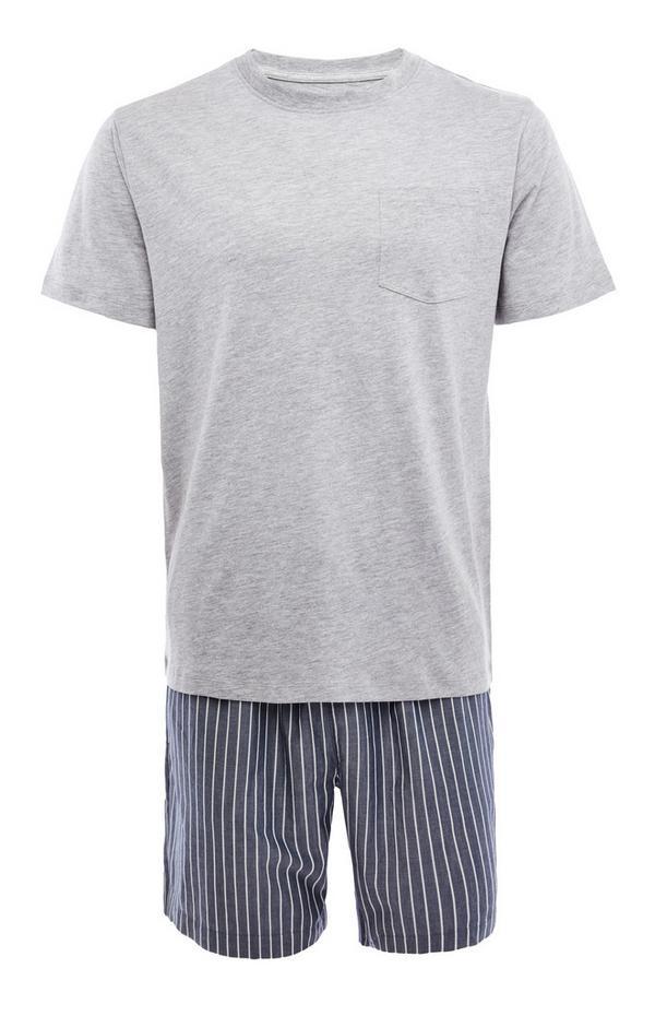 Kurzes grau-marineblaues Popeline-Pyjamaset mit Streifen