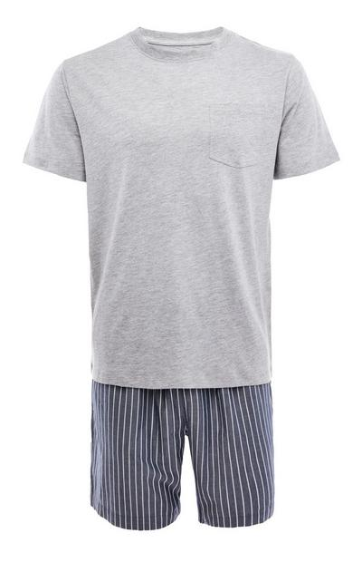 Grey And Navy Stripe Poplin Short Pyjamas Set