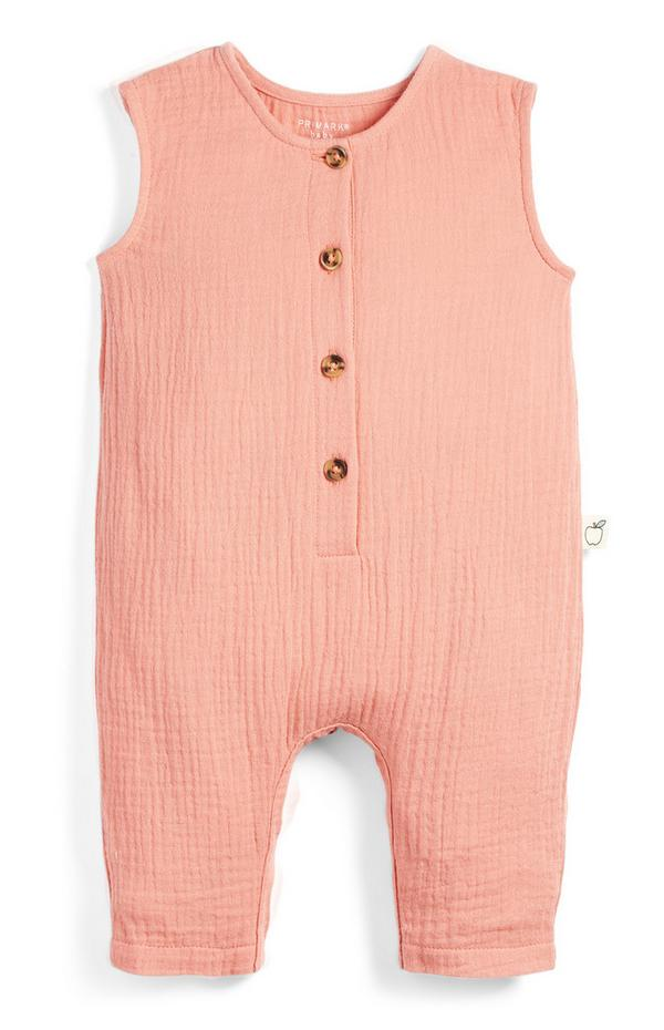 Baby Peach Button Up Cheesecloth Dungarees