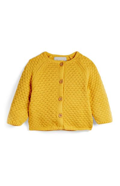 Gorčično rumena teksturirana jopica za dojenčke