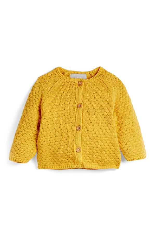 Baby Mustard Yellow Textured Cardigan