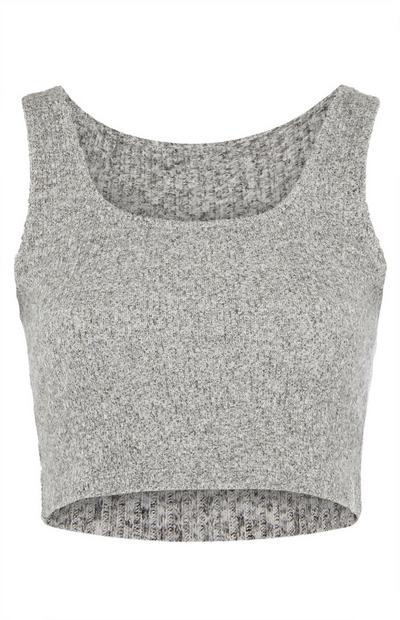 Grey Knit Round-Neck Crop Top