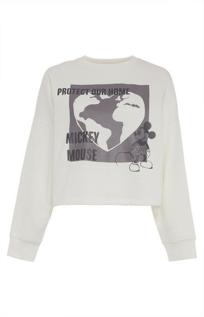 Korte witte sweater Primark Cares met Disney Mickey Mouse Planet