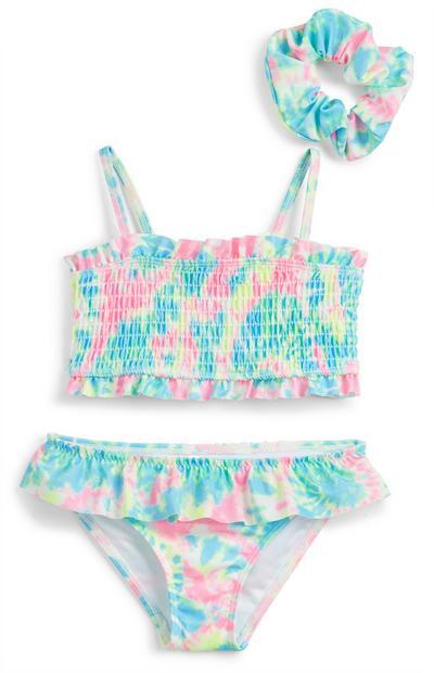 Večbarvni batik nabran bikini za mlajša dekleta