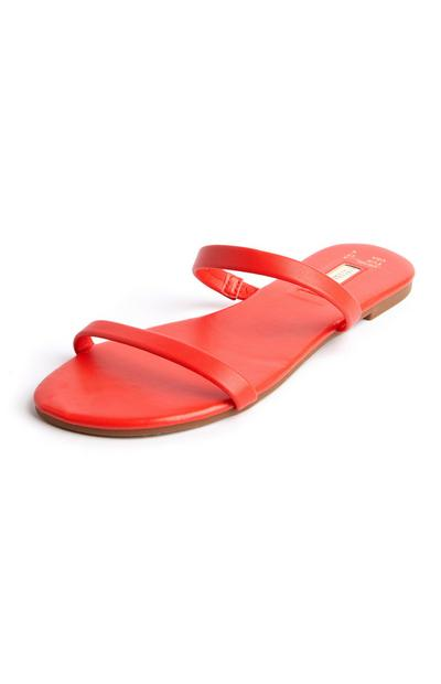 Red Double Strap Sandal Mules