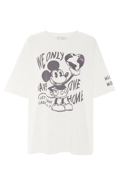 Wit oversized T-shirt Primark Cares met Disney Mickey One Planet