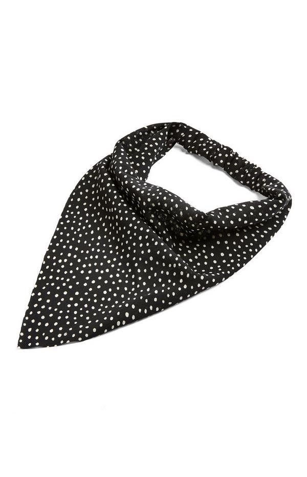 Zwarte sjaal-haarband met stippen