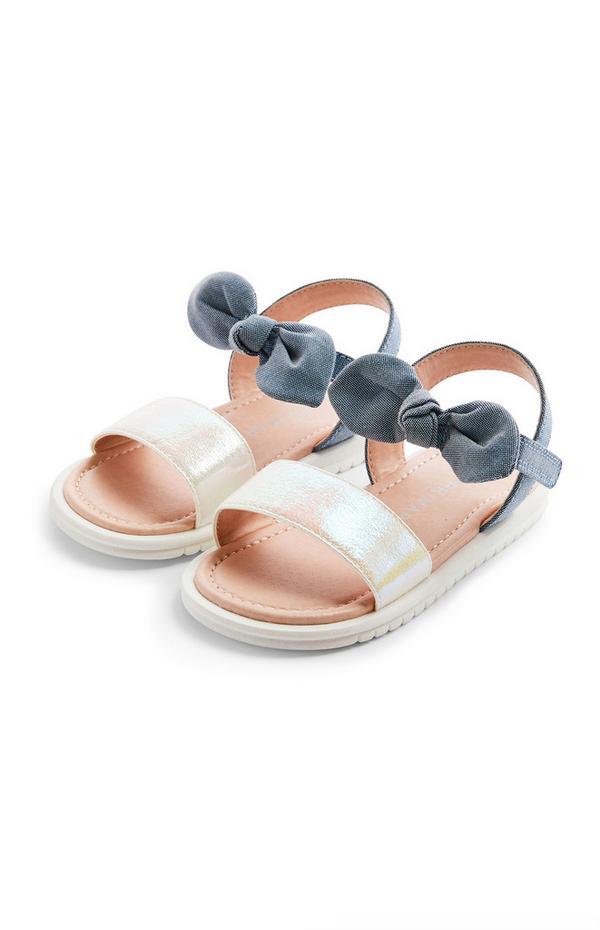 Sandalen mit Schleife aus Chambray (kleine Mädchen)