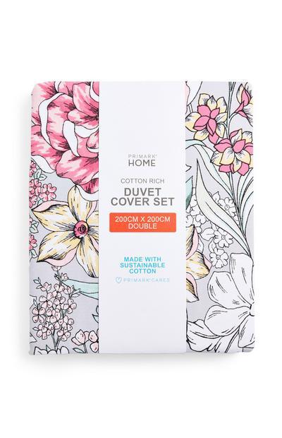 Peony Floral Double Duvet Cover Set