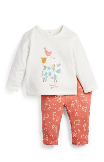 Organski komplet puloverja in pajkic s potiskom domačih živali za dojenčke