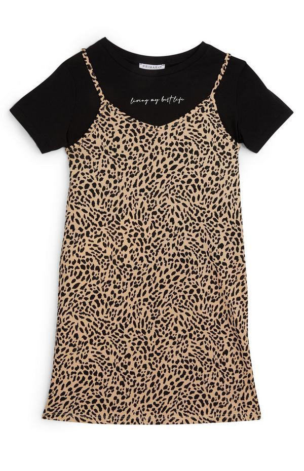 Kleid mit Animal-Print im 2-in-1-Set (Teeny Girls)