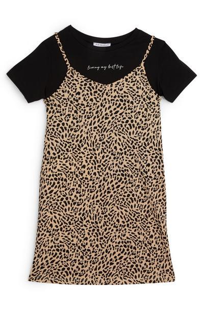 2-in-1-jurkcombo met dierenprint voor meiden