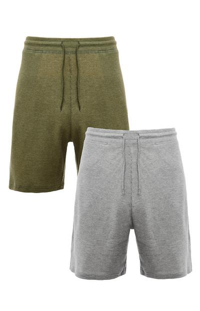 Khaki And Grey Tie Waist Waffle Shorts 2 Pack