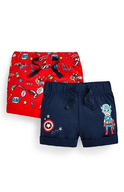 Pack de 2 pantalones cortos de los Vengadores para bebé niño