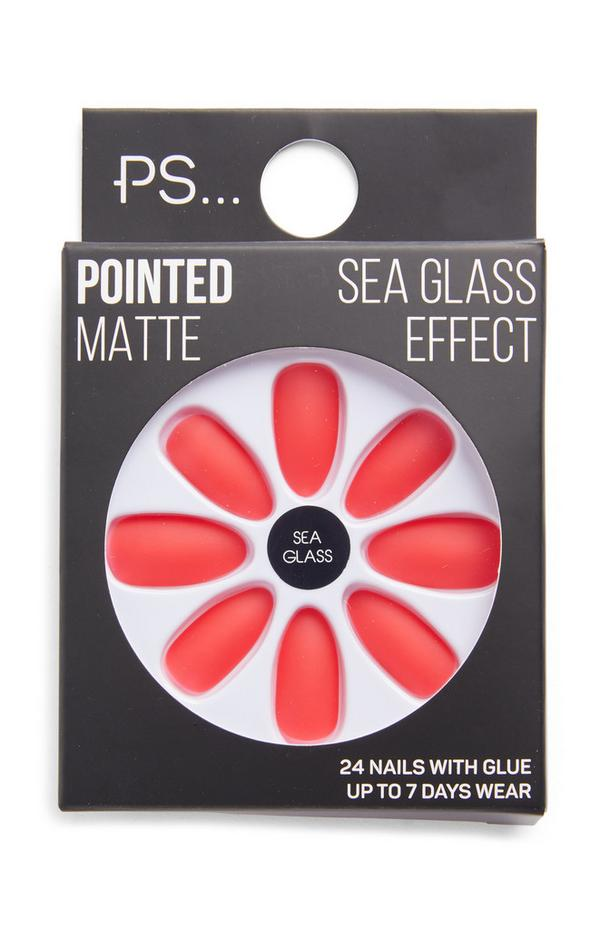 PS Coral Sea Glass Effect Pointed Matte Faux Nails